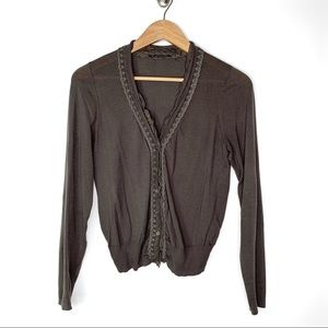 Elie Tahari Brown Ruffle Trim Fitted Cardigan S